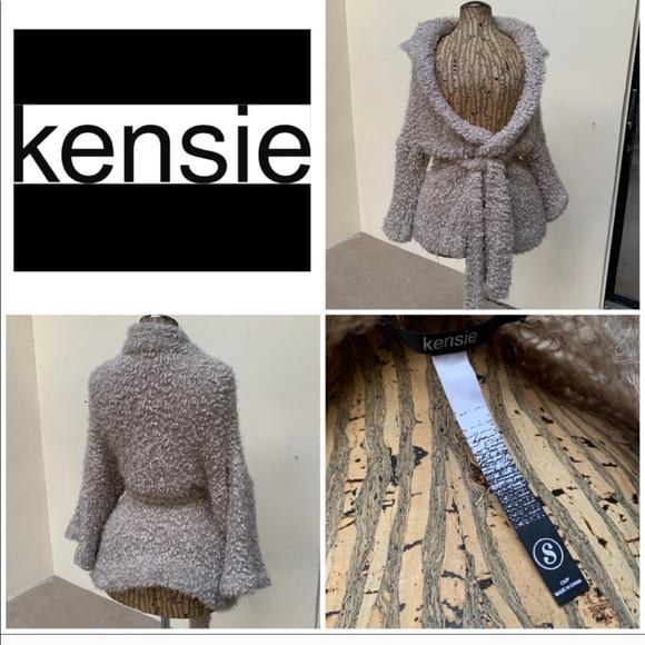 Kensie Sweaters - Kensie Beige Fuzzy Soft Wrap Sweater Shawl Top